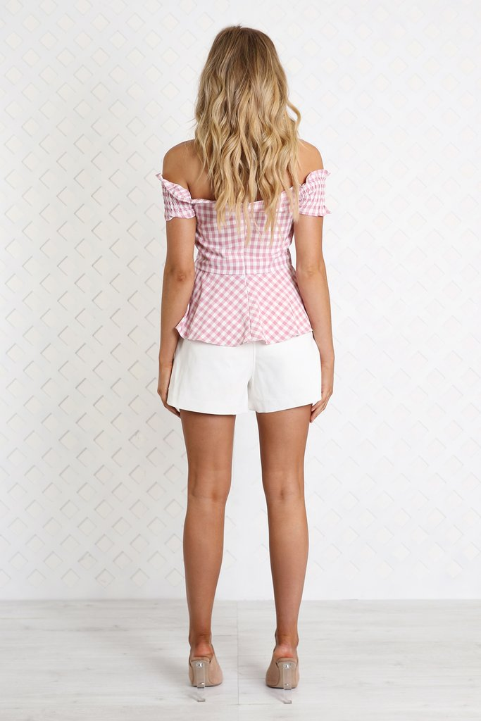 Madison Square Ella Gingham Top in Pink