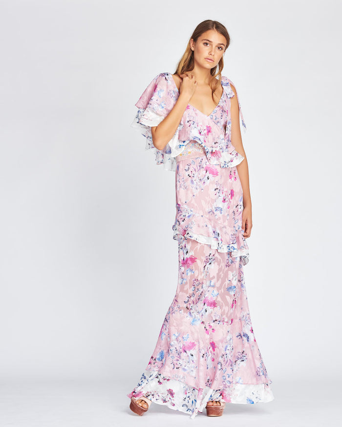 We Are Kindred - Alessandra Ruffle Maxi Dress in Monet Bloom