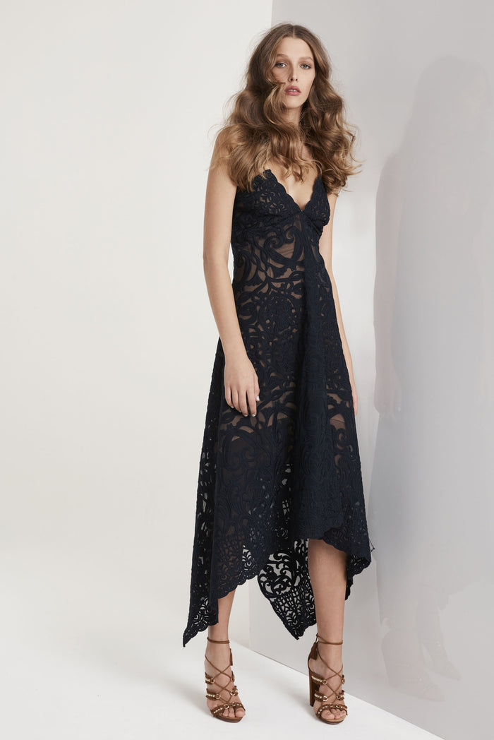 Once Was Harlequin Embroided Lace Waterfall Maxi in Ink