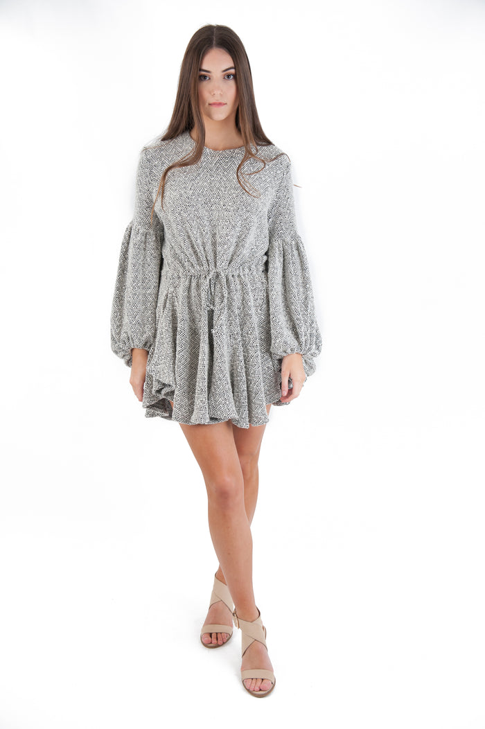 Shona Joy - Bonnie Balloon Sleeve Drawstring Mini Dress