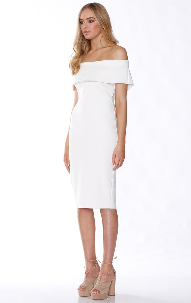 Pasduchas Halston Midi Dress in Ivory
