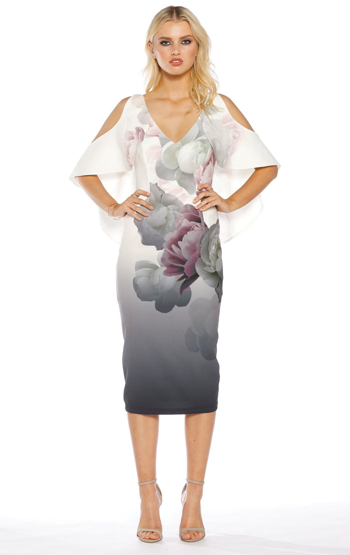 Pasduchas Blossom Drape Midi Dress