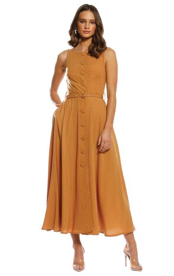 Pasduchas Illusion Button Midi Dress | Marigold