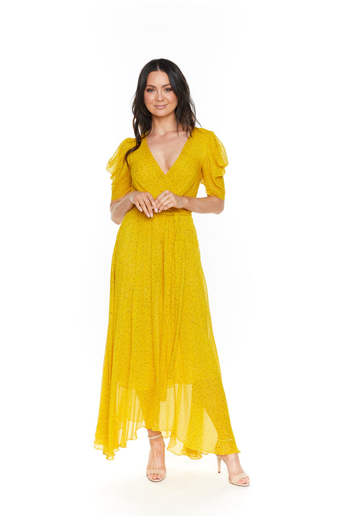 Bec and bridge hibiscus golden midi dress