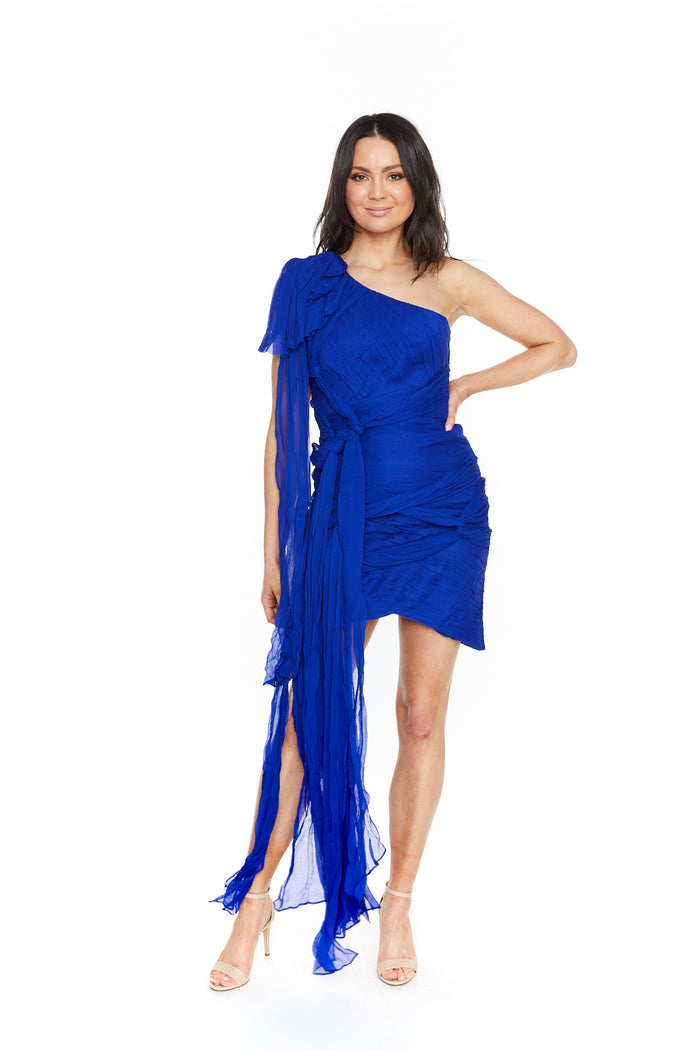 Thurley Crest One Shoulder Dress Royal Blue