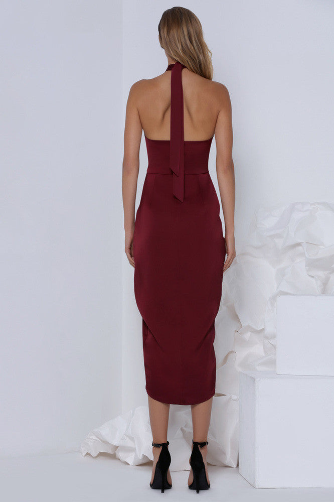 Premonition Designs Pinot Cocktail Dress in wine – the style squad