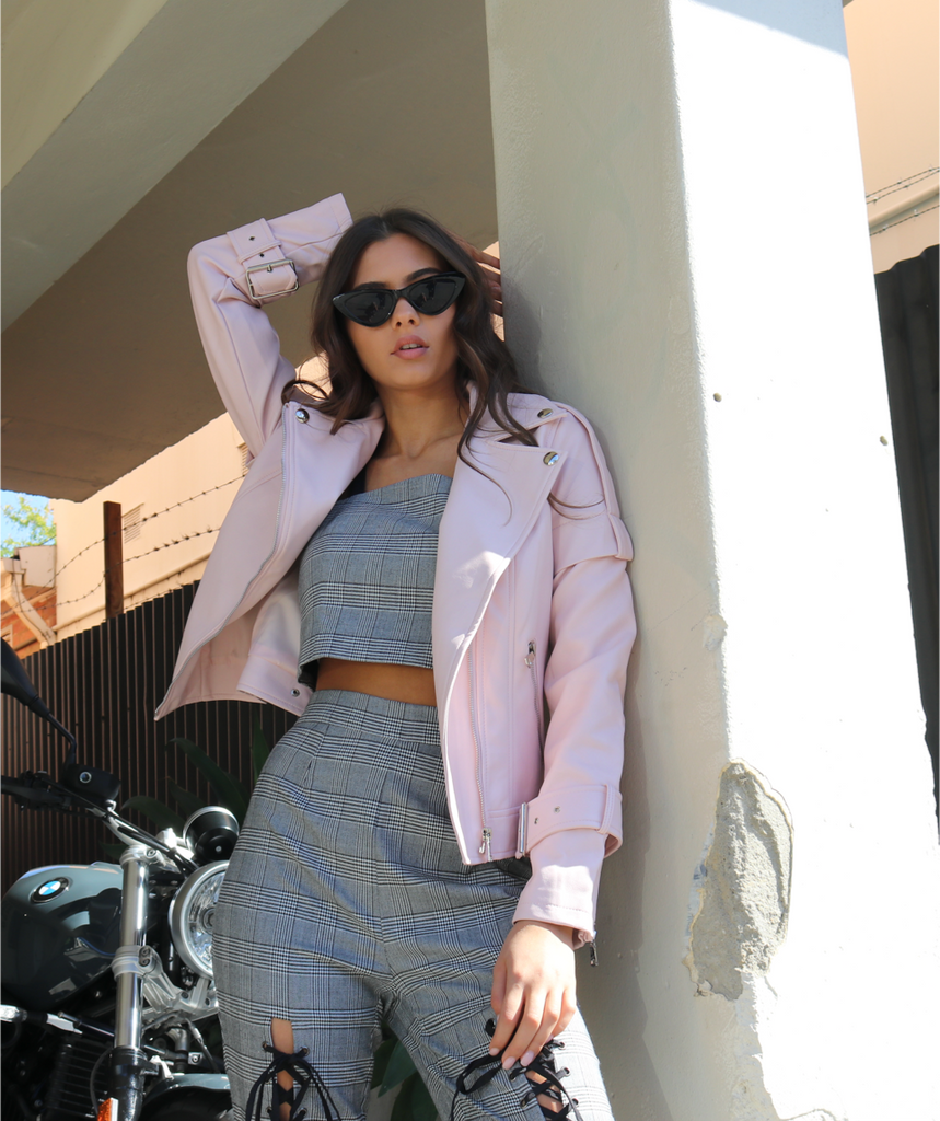 The Aria Biker Jacket | Pink