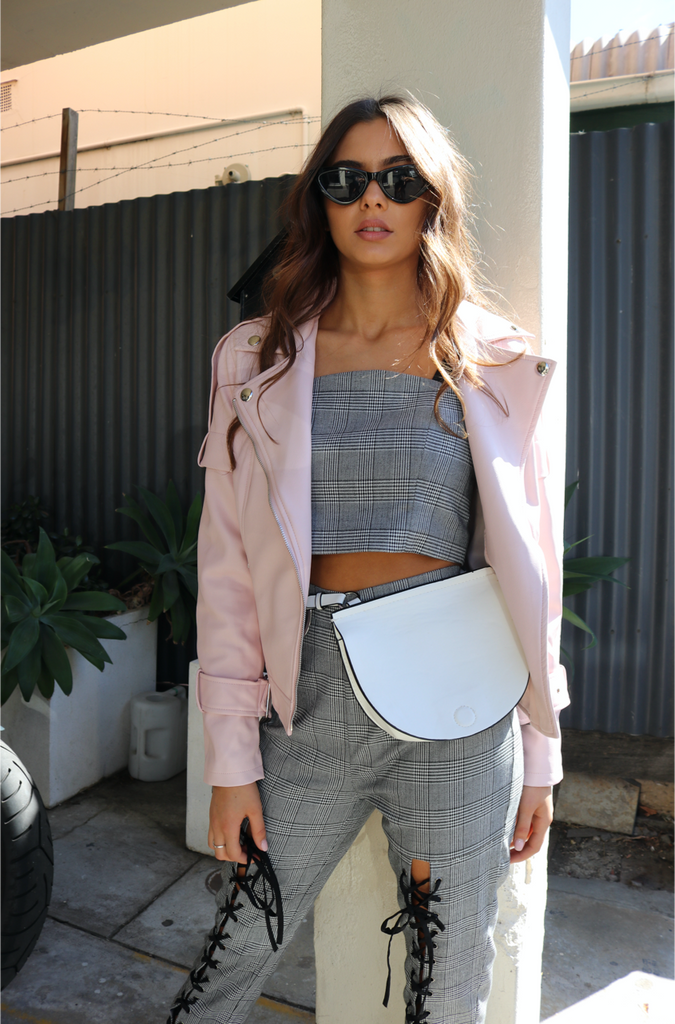 vegan pink leather jacket
