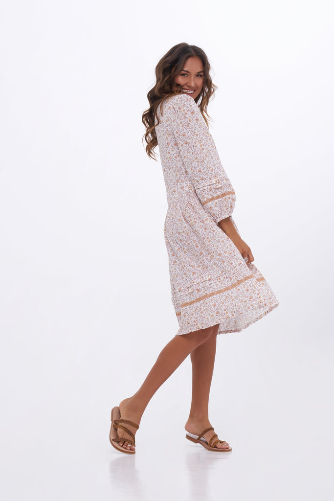 Indian Summer Co Dahlia Dress | Ivory