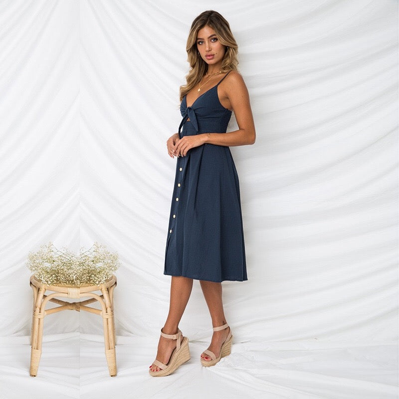 Navy Tie Button Dress