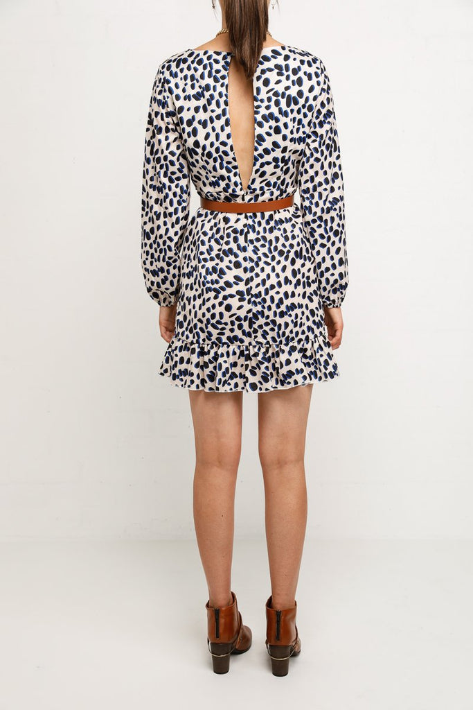Winnie Long Sleeve Mini Faux Wrap Dress In Leopard