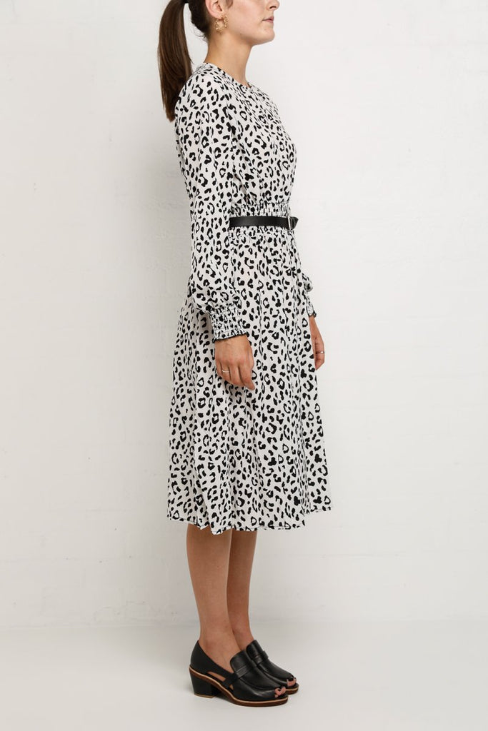 Izzi Long Sleeve Leopard Print Midi Dress