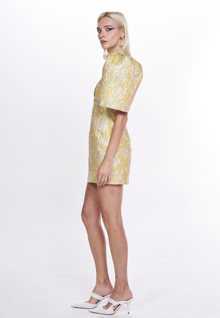 Nicola Finetti Kendall Dress | Yellow/Silver