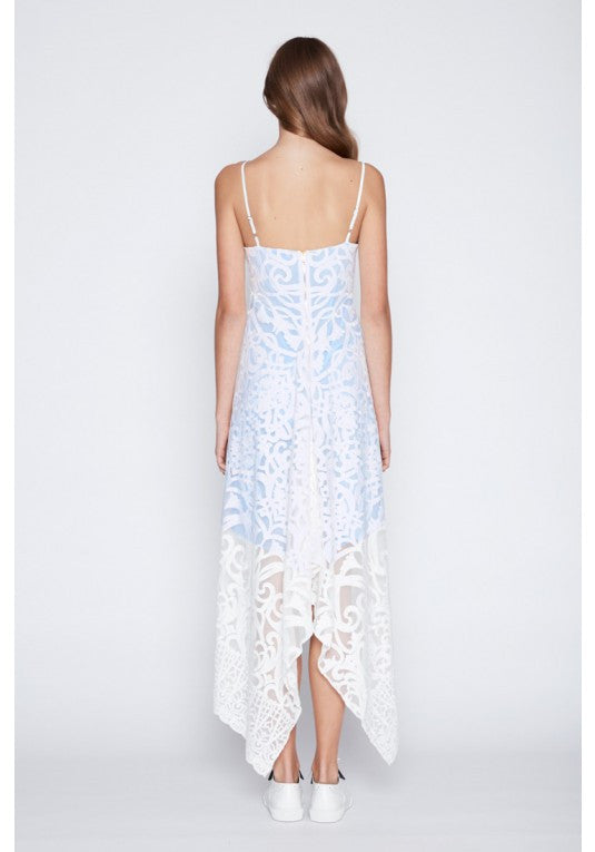 Once Was Harlequin Embroided Lace Waterfall Maxi in White