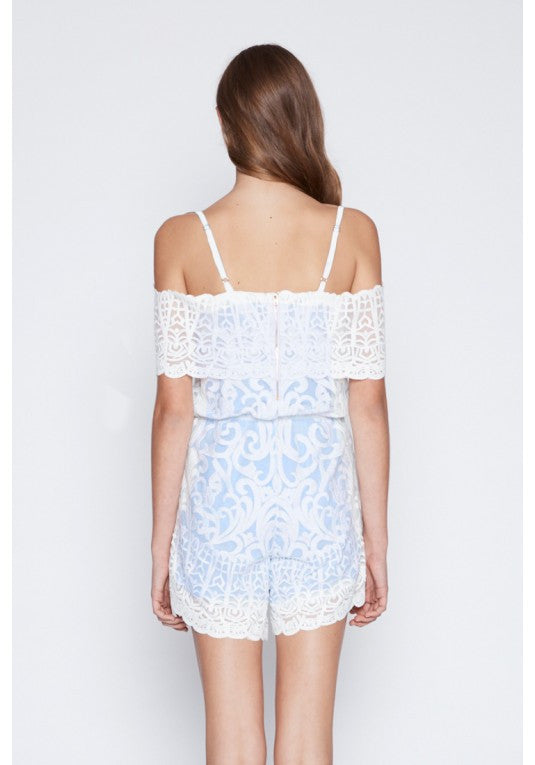 Once Was Harlequine Embroided Lace Romper in white