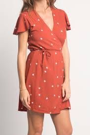 Rue Stiic Tilly Wrap Dress in Rust Red Random Star