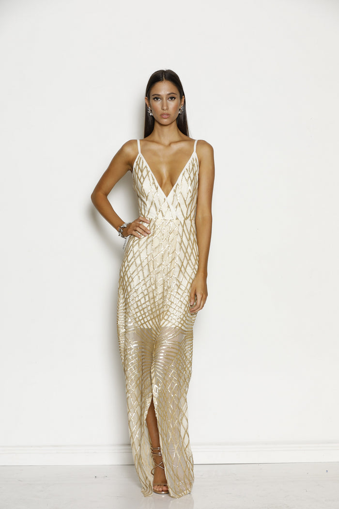 Grace & Hart Shooting Stars Wrap Dress in gold-