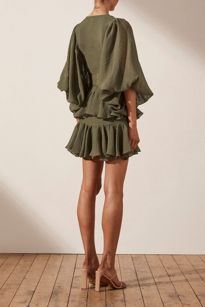 Shona Joy Charlotte Plunged Draped Mini Dress