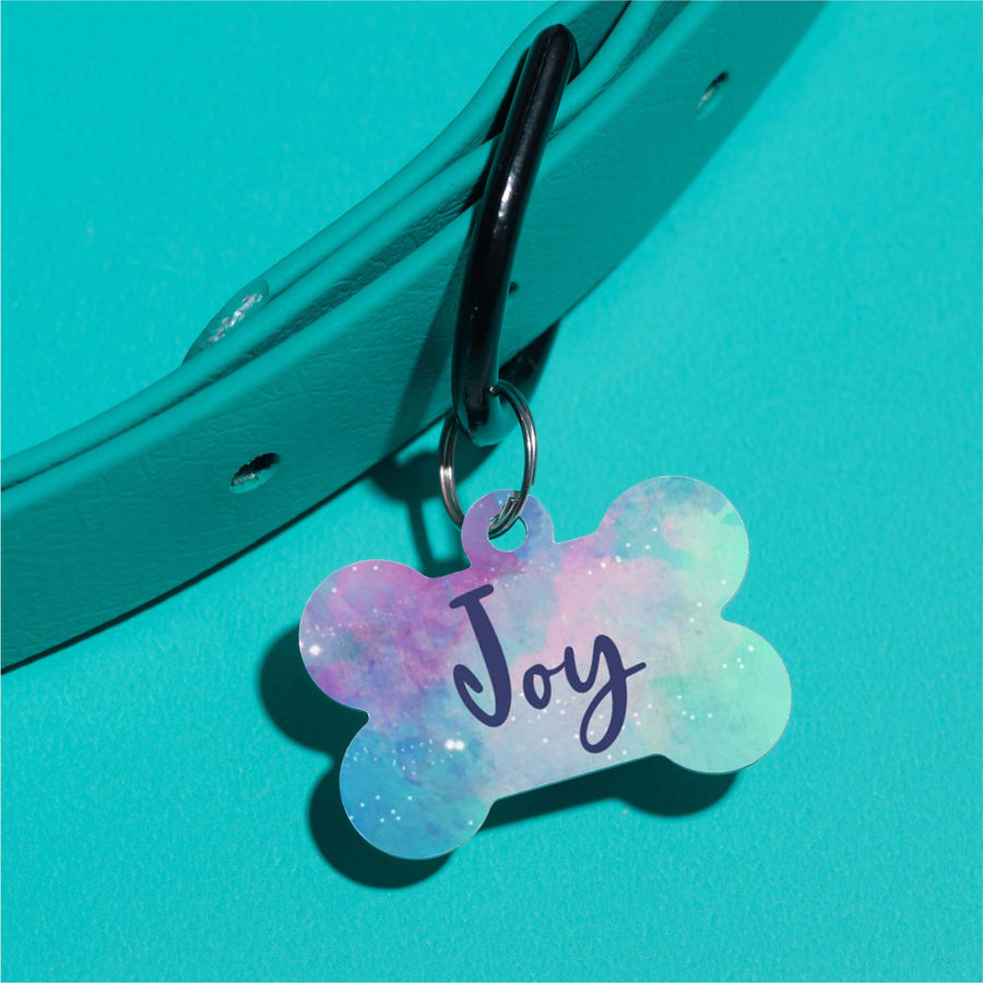 Joy Watercolor Pet ID Tag