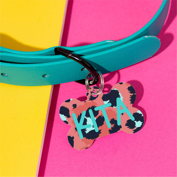 Aqua Leopard Pet ID Tag - The Dapper Paw