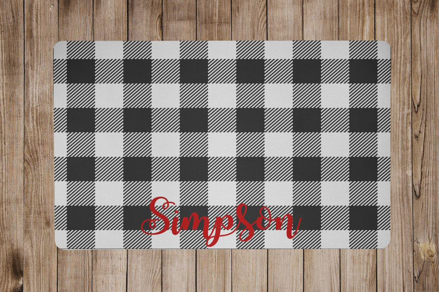 Black Buffalo Plaid Placemat - The Dapper Paw
