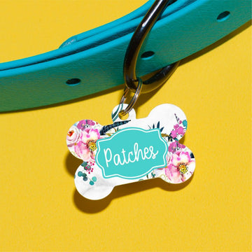 Bright Feather Floral Pet ID Tag - The Dapper Paw