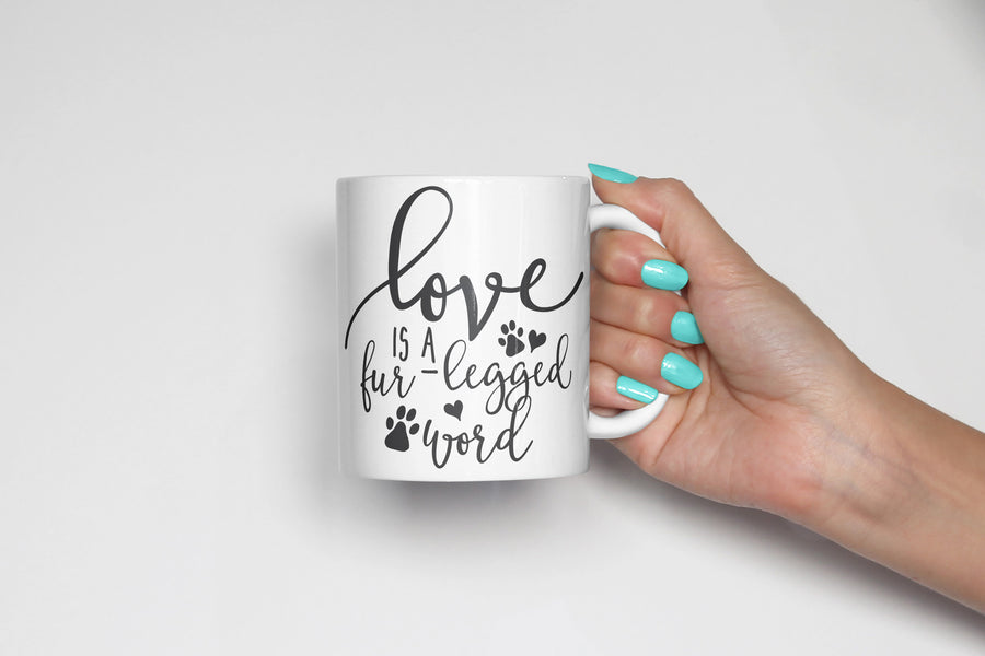 Love is a Fur Legged Word Coffee Mug - The Dapper Paw