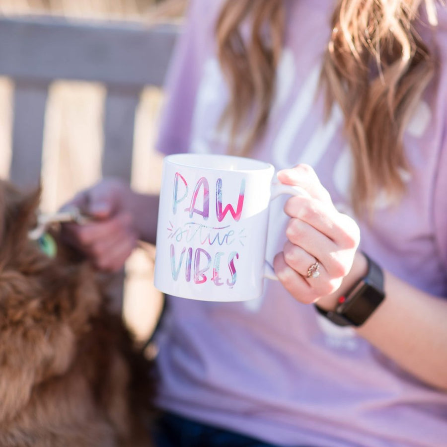 Pawsative Vibes Coffee Mug (hand lettered) - The Dapper Paw