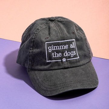 Gimme All The Dogs Hat - Vintage Black - The Dapper Paw