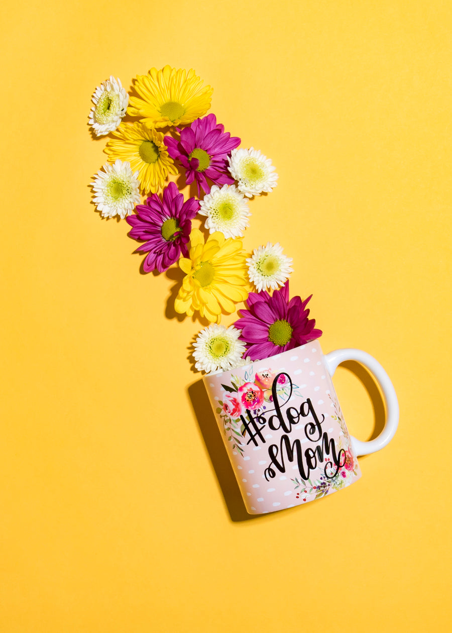 Full Color Floral #DogMom Coffee Mug - The Dapper Paw