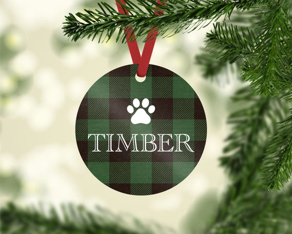 Green Plaid Photo Ornament - The Dapper Paw