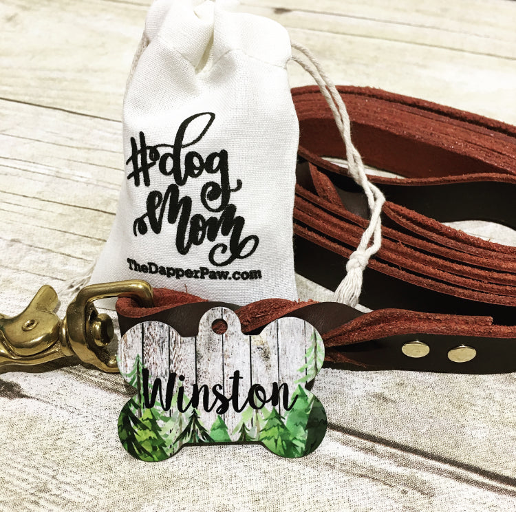 Wooded Trees Pet ID Tag - The Dapper Paw