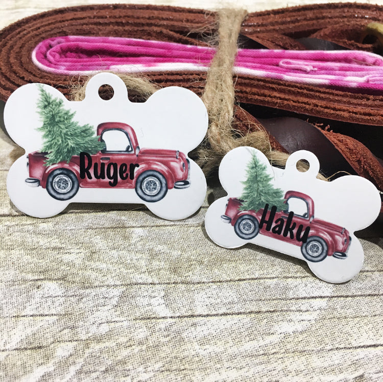 Christmas Truck Pet ID Tag - The Dapper Paw