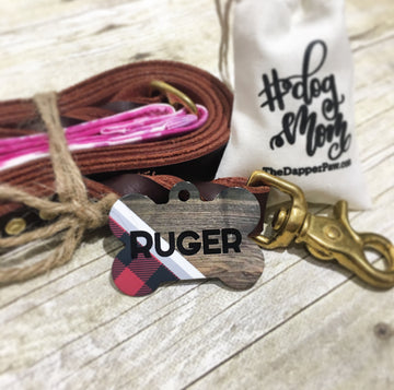 Plaid & Wood Pet ID Tag - The Dapper Paw