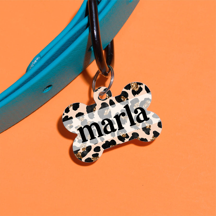 Leopard Glitter Pet ID Tag - The Dapper Paw