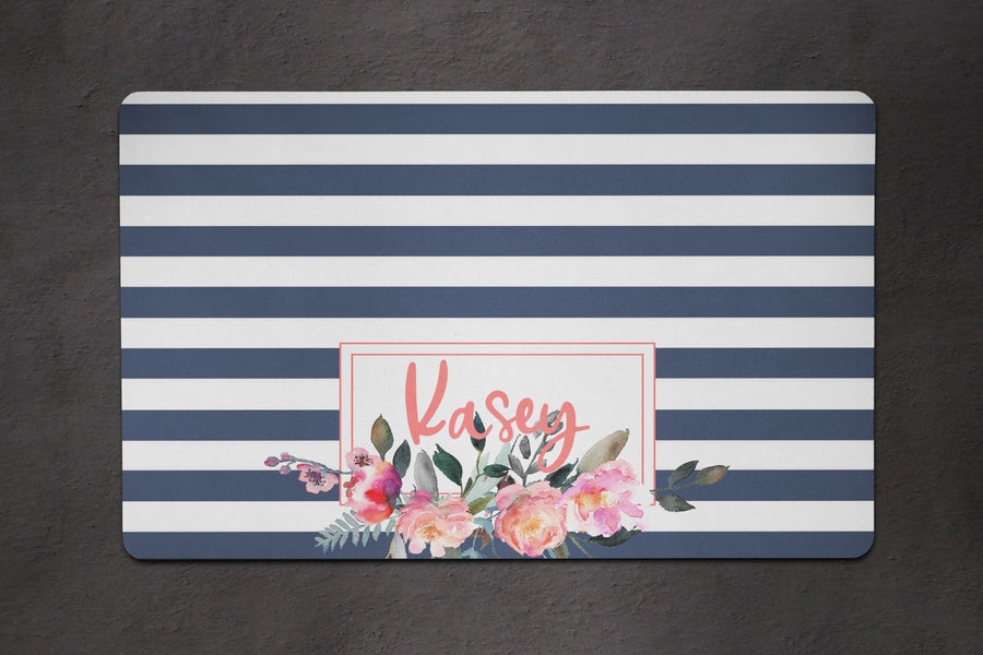 Navy Stripe Floral Placemat - The Dapper Paw