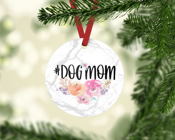 Pastel Floral #DogMom Photo Ornament - The Dapper Paw