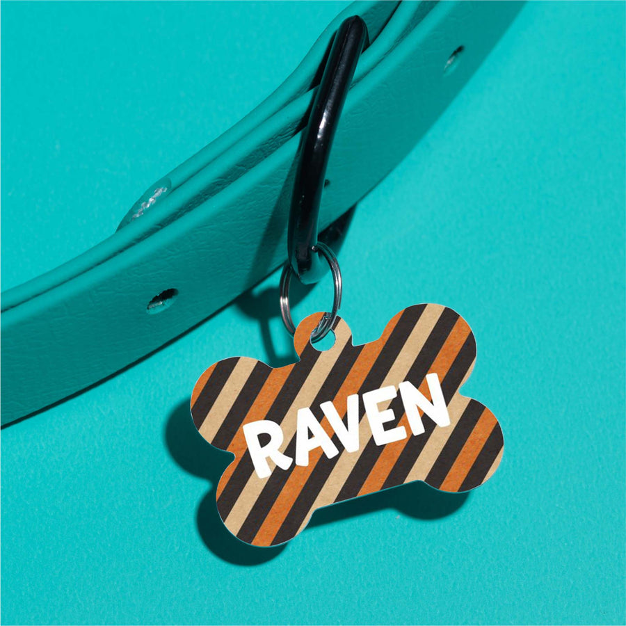 Raven's Fall Stripes Pet ID Tag