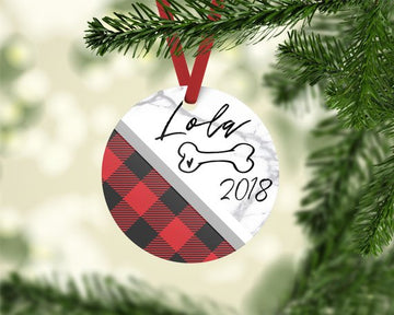 Red Plaid & Marble Photo Ornament - The Dapper Paw