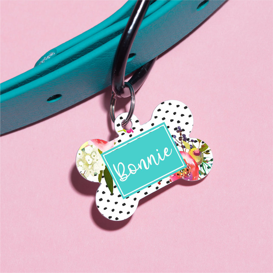 Watercolor Roses Pet ID Tag - The Dapper Paw