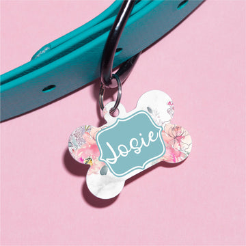 Floral Line Bouquet Pet ID Tag - The Dapper Paw