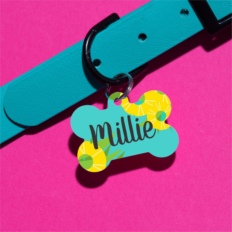 Pineapple Floral Pet ID Tag - The Dapper Paw