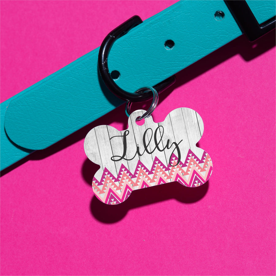 Pink Tribal Pet ID Tag - The Dapper Paw