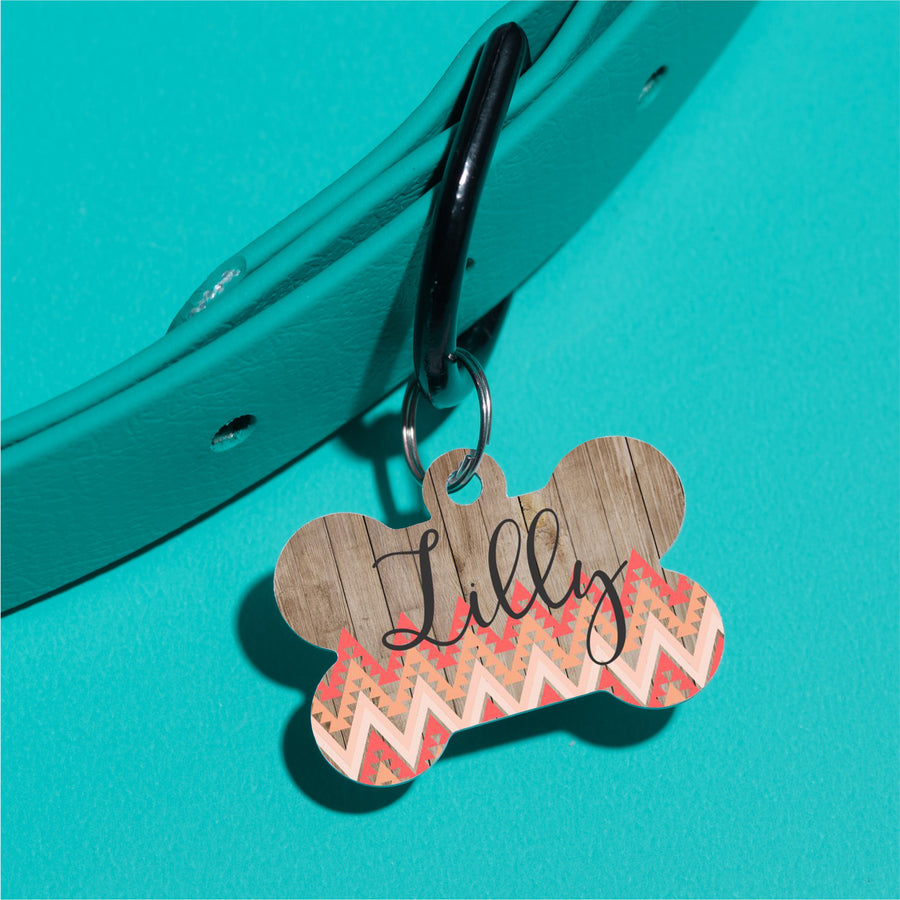 Peach Tribal Pet ID Tag - The Dapper Paw