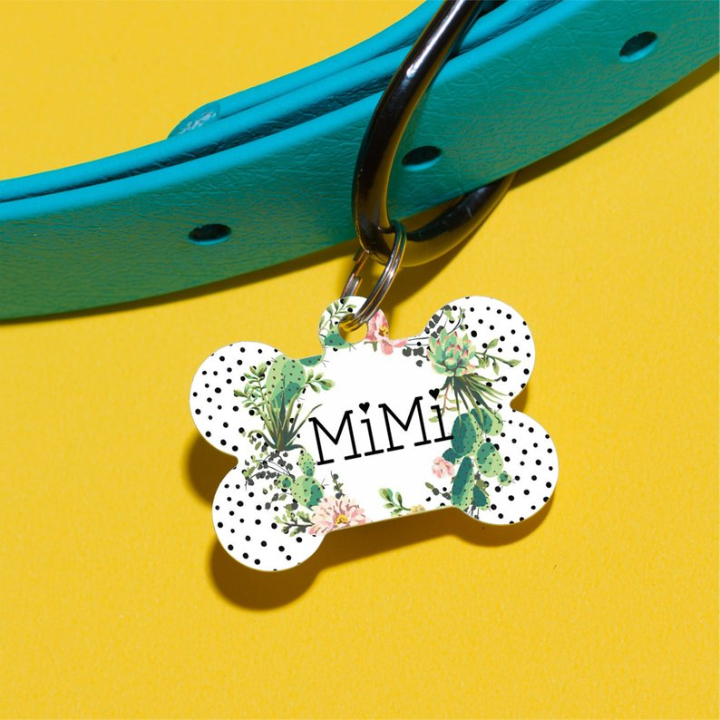 Cactus Floral Pet ID Tag - The Dapper Paw