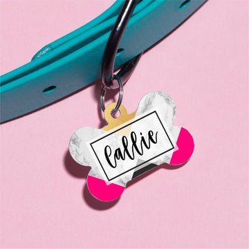 Pink and Marble Pet ID Tag - The Dapper Paw