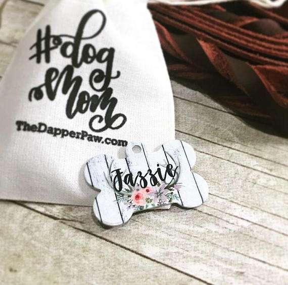 Floral Antler Pet ID Tag - The Dapper Paw