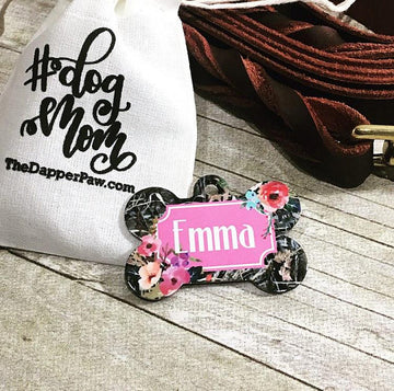 Camo Floral Pet ID Tag - The Dapper Paw