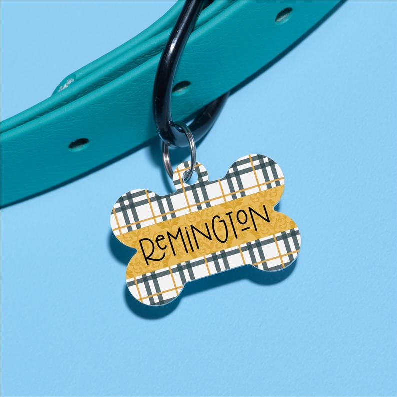 Remi's Plaid Pet ID Tag - The Dapper Paw