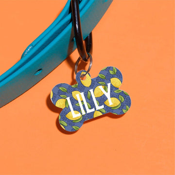 Navy Lemons Pet ID Tag